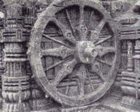 A kerék a buddhizmus térhódítása idején, Asóka király oszlopain a vallás eszméire utal.