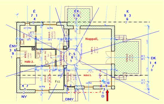 A ház homlokzatát DNY2 220°-ra átterveztük. Építészeti szempontból ez megfelelő volt, de Feng shui szempontból ez megváltoztatta a ház energiatérképét, mely a házon belül több funkció újragondolását igényelte.