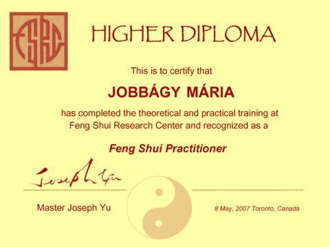 Jobbágy Mária Feng Shui diploma