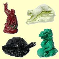 A négy Mennyei Lény: Zöld Sárkány, Fehér Tigris, Fekete Teknős, Vörös Főnix