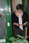 Jobbágy Mária tradicionális feng shui tanácsadó a Tenuitas Egészség Stúdió felmérését végzi